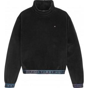 Tommy Hilfiger kids girls korte sweater trui turtle neck velours in de kleur zwart