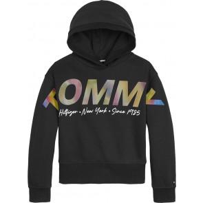 Tommy Hilfiger kids girls multi shine print hoodie sweater in de kleur zwart