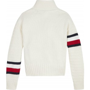 Tommy Hilfiger kids girls chunky cable mock neck in de kleur off white