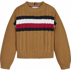 Tommy Hilfiger kids girls global stripe cable gebreide trui in de kleur bruin