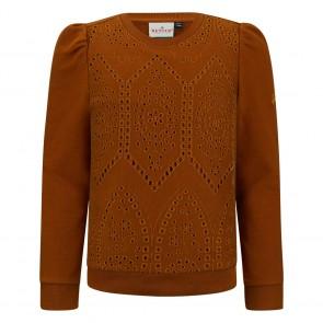 Retour jeans kids girls Enya sweater trui broderie in de kleur toffee bruin