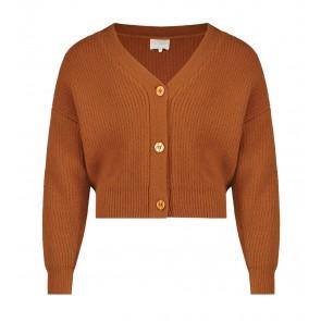AI&KO girls kort vest Binthy met knopen in de kleur brown sugar roestbruin