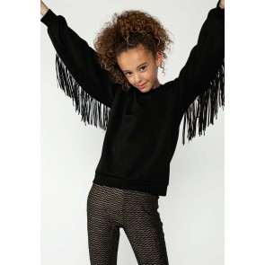 AI&KO girls sweater trui Salia met franjes in de kleur black zwart
