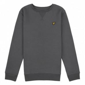 Lyle and scott kids crew neck sweater trui met fleece laagje in de kleur grijs