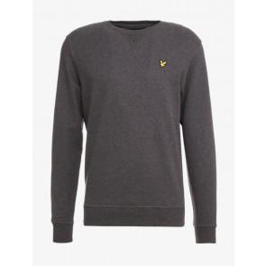 Lyle and scott kids crew neck sweater trui met fleece laagje in de kleur charcoal grijs