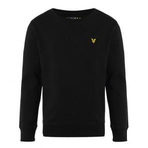 Lyle and scott kids crew neck sweater trui met fleece laagje in de kleur zwart