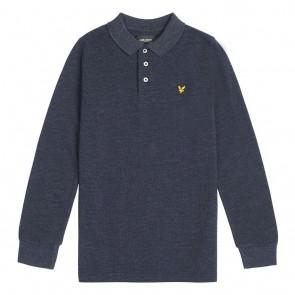 Lyle and scott kids longsleeve polo shirt in de kleur gemeleerd blauw