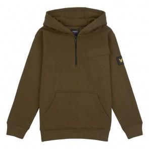 Lyle and Scott junior kids hoodie sweater trui met borstzak in de kleur army green