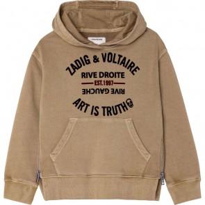 Zadig en voltaire hoodie sweater trui met tekst print in de kleur zand