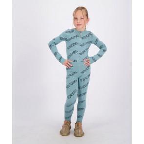 Reinders kids girls fijngebreide broek pants all over print in de kleur mineral blue