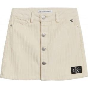 Calvin klein jeans girls rib rok corduroy mini skirt in de kleur off white