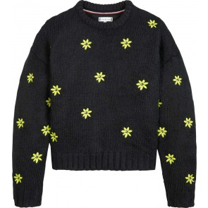 Tommy Hilfiger kids girls tommy girls gebreide flower print sweater in de kleur zwart