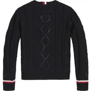 Tommy Hilfiger kids girls gebreide essential cable sweater trui met glitters in de kleur zwart