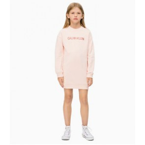 Calvin Klein kids girls jurk logo sweatshirt dress in de kleur zachtroze