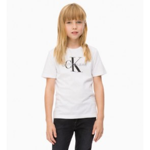 Calvin Klein kids girls shirt monogram logo regular tee in de kleur wit