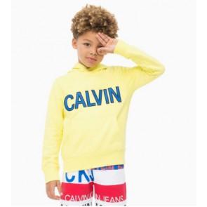 Calvin Klein Jeans hoodie trui met blauw logo in de kleur geel