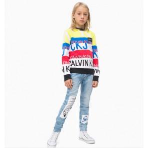 Calvin Klein Jeans sweater trui met logoprint in de kleur multicolor