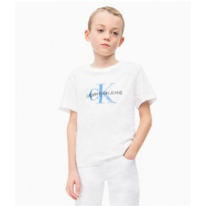Calvin Klein kids shirt met blauwe logo print in de kleur wit