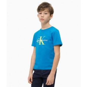 Calvin Klein kids shirt met geel logo print in de kleur kobalt blauw