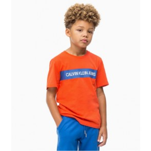 Calvin klein kids boys shirt box regular polo shirt in de kleur orange oranje