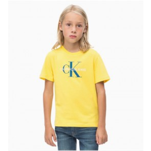Calvin klein kids boys shirt monogram regular polo shirt in de kleur geel