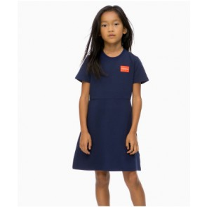 Calvin Klein kids girls jurk punto badge skater dress in de kleur donkerblauw