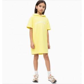 Calvin Klein kids sweatjurk met capuchon en logo print in de kleur geel
