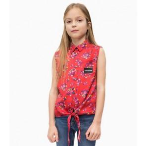 Calvin Klein Jeans blouse met bloemenprint in de kleur rood