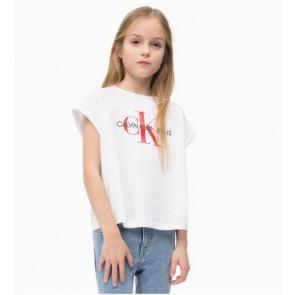 Calvin Klein kids girls shirt met rood logo in de kleur wit